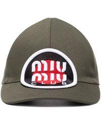Miu Miu - Khaki Logo Patch Cotton Baseball Cap - Lyst