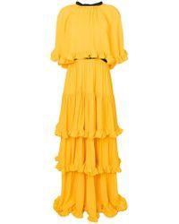 MSGM   Tiered Ruffle Maxi Dress   Lyst