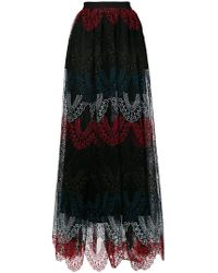 Elie Saab - Colour-block Lace Maxi Skirt - Lyst