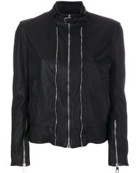 Neil Barrett - Zip Detailed Leather Jacket - Lyst
