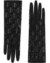Gucci Tulle Gloves With GG Motif - Zwart