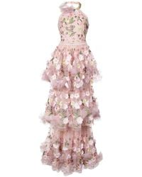 Marchesa notte - Floral-appliquéd Tiered Ruffled Gown - Lyst