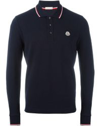 ad27522ababf Lyst - Moncler Long Sleeve Logo Polo Shirt in Blue for Men