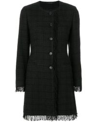 Tagliatore - Plaid Fringed Coat - Lyst