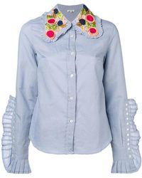 Manoush - Knife Pleats Embellished Collar Shirt - Lyst