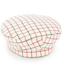 Maison Michel - Grid Pattern Beret - Lyst 9fc6aae97c83