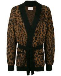 Laneus - Leopard Knit Cardigan - Lyst