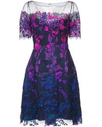 Marchesa notte - Floral Embroidered Mesh Dress - Lyst