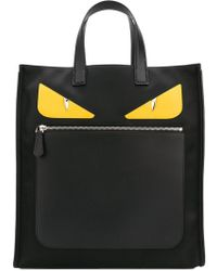 Fendi - Monster Leather-Trimmed Tote - Lyst