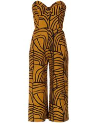 Andrea Marques - Strapless Cropped Jumpsuit - Lyst