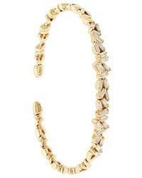 Suzanne Kalan - 18kt Yellow Gold Fireworks Flexible Diamond Baguette Cuff - Lyst