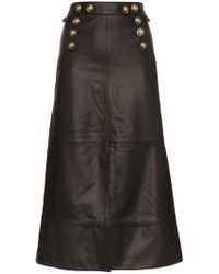 SKIIM - Farrah Button Detail Leather Skirt - Lyst