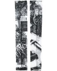 MM6 by Maison Martin Margiela - Graffiti Print Fingerless Gloves - Lyst