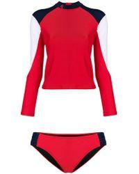 Perfect Moment - Color-blocked Rash Guard Bikini - Lyst