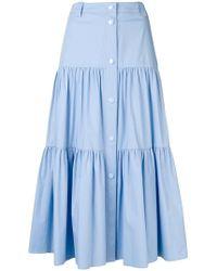 RED Valentino - Stretch Poplin Flounced Skirt - Lyst