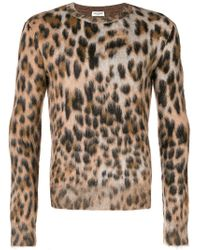 c4e3b92adfe Saint Laurent Leopard Print Mohair Crew Knit in Brown for Men - Lyst