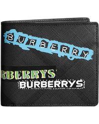Burberry - Tag Print London Check International Bifold Wallet - Lyst