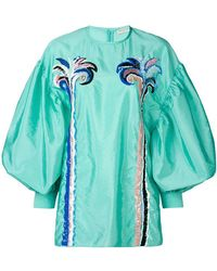 Emilio Pucci - Embroidered Puff Sleeve Blouse - Lyst