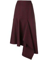Balenciaga - Asymmetric Check Godet Skirt - Lyst