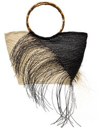 Sensi Studio - Black And Natural Two Tone Frayed Maxi Straw Tote - Lyst