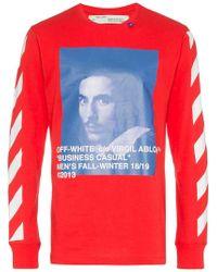 Off-White c/o Virgil Abloh - Bernini Diagonal Stripe Print T Shirt - Lyst