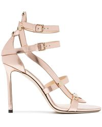 Jimmy Choo - Rose Gold Motoko 100 Leather Sandals - Lyst