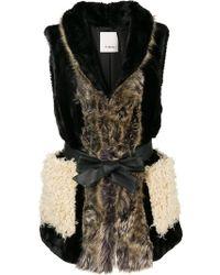 Pinko - Tie Waist Faux Fur Gilet - Lyst
