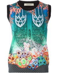 Piccione.piccione - Gothic Archway Reef Print Contrast Trim Gilet - Lyst