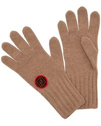 Fendi - Logo Patch Knitted Gloves - Lyst