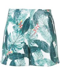Rachel Zoe - Miley Palm Printed Sequin Shorts - Lyst