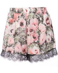 Fleur du Mal - Margo Floral Print Lace Shorts - Lyst