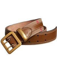 Burberry - Topstitched House Check And Leather Belt - Lyst