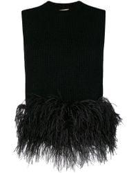N°21 - Sleeveless Feather Trim Sweater - Lyst