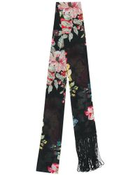 Twin Set - Rose Print Fringed Skinny Scarf - Lyst