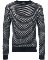 Zanone - Striped Crew Neck Sweater - Lyst