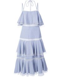 Prabal Gurung - Halter Strap Tiered Blue Dress - Lyst