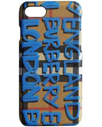 Burberry - Graffiti Print Vintage Check Leather Iphone 8 Case - Lyst