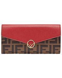 Fendi - Colour-block Zucca Continental Wallet - Lyst