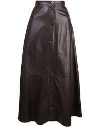 Adam Lippes Button-through Midi Skirt - Brown
