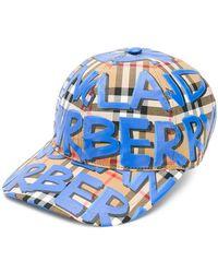 Burberry - Graffiti Check Baseball Cap - Lyst