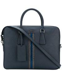 Prada - Contrast Stripe Laptop Bag - Lyst