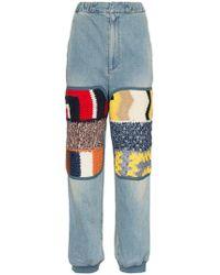 Ambush - High Waist Knitted Panel Straight Jeans - Lyst