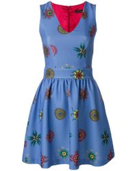 Frankie Morello - Printed Sleeveless Mini Dress - Lyst