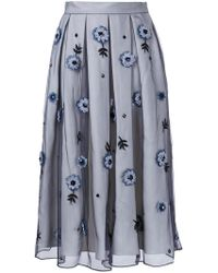 Holly Fulton - Flower Embellished Pleated Skirt - Lyst