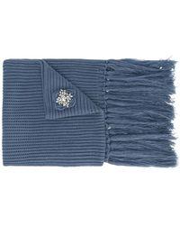 Twin Set - Brooch Embellished Fringed Scarf - Lyst