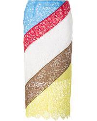 Preen By Thornton Bregazzi - Colour Block Lace Skirt - Lyst