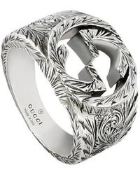 7a889e89e271 Lyst - Gucci Silver Ring With Interlocking G in Metallic for Men