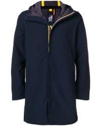 K-Way - Hooded Zipped Coat - Lyst