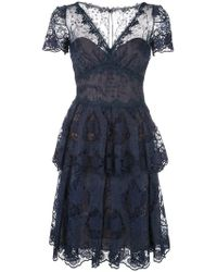 Marchesa notte - Flared Lace Dress - Lyst