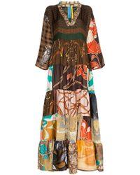 Rianna + Nina - Multi Horse Check Print Silk Kaftan Dress - Lyst